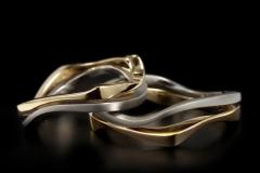 """""""Párhuzamos"""" Platina-arany18k karikagyűrű"""