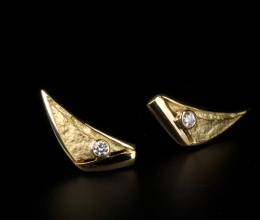pala vitorlás fülbevaló arany, brillekkel kb. 16mm