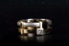 """""""Bauhaus"""" gy. platina, arany 18k, és gyémánt"""