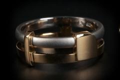 """""""Bauhaus"""" karikagyűrű platina, arany 18k"""