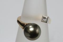 """""""Elágazó"""" arany gyűrű tahiti gyöggyel, Pt foglalatban gyémánttal"""